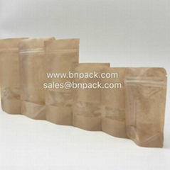 Doypack Craft Paper Bags With Clear Window