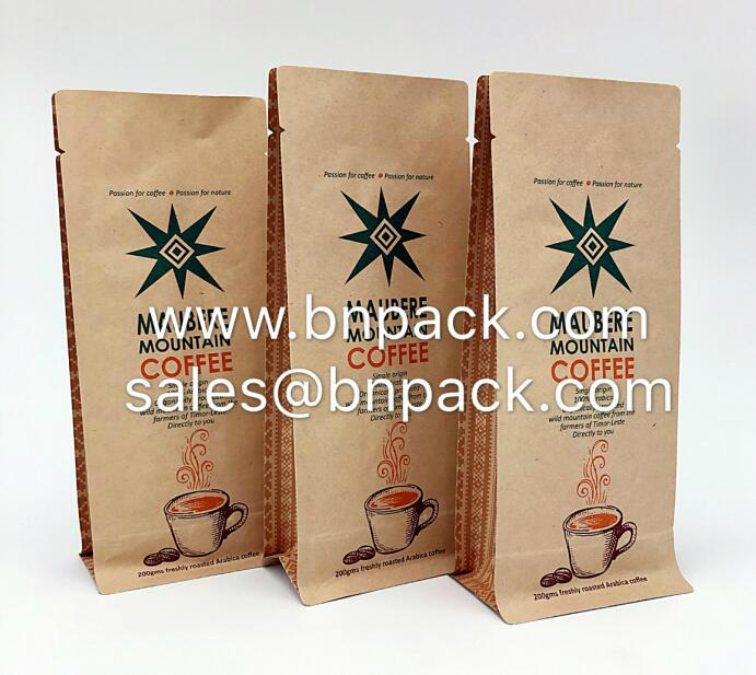 Aluminum Foil Lined Craft Paper Bags For Coffee Packing 8