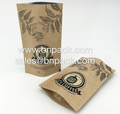 Craft Paper Bag Lined Foil For Coffee Packing