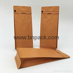 250g  print aluminum foil laminated kraft paper bag with zipper for coffee bean
