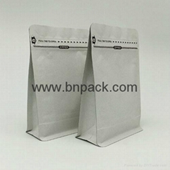 aluminum foil lined flat based stand up bottom kraft paper bag