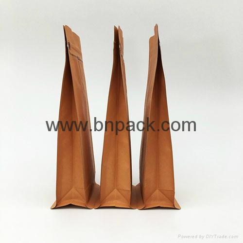 blenched white kraft paper bag lined foil for coffee bean pack 2