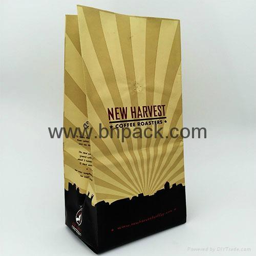 box bottom Kraft bags Kraft paper tea packaging bags coffee bean bag 3
