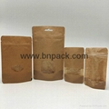 clear window stand up kraft paper bags nut packaging zipper doypack 1