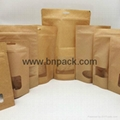 clear window stand up kraft paper bags nut packaging zipper doypack 2
