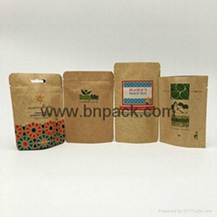Eco friendly food grade oil barrier special plastic coated stand up kraft paper