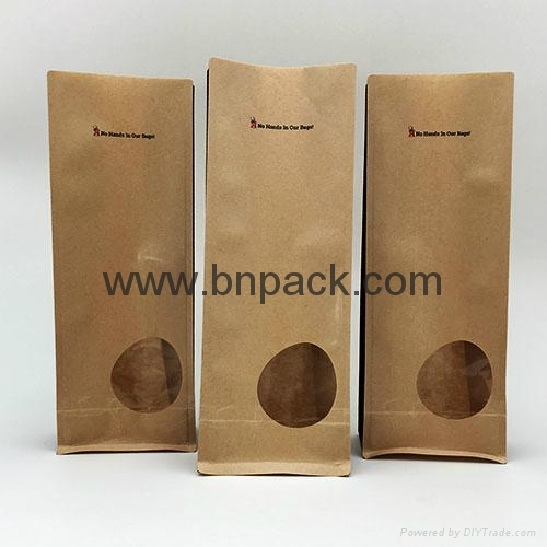 Kraft paper bag square bottom food bag with clear window smell-less 2