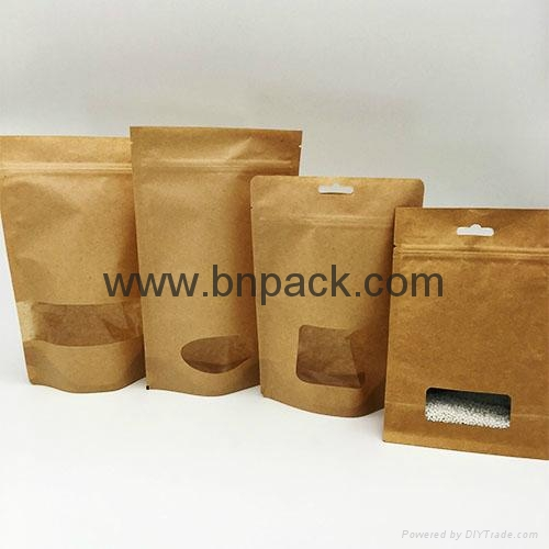 Kraft paper bag square bottom food bag with clear window smell-less 3