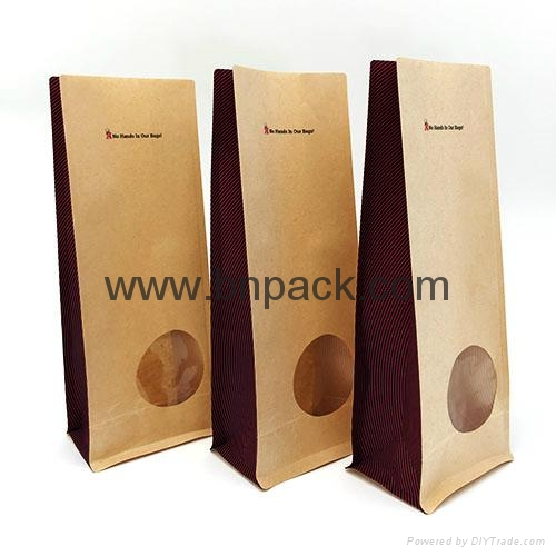 Kraft paper bag square bottom food bag with clear window smell-less 1