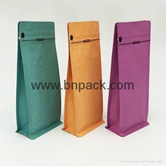 Stand up block bottom kraft paper bag lined metallized foil for coffee bean pack
