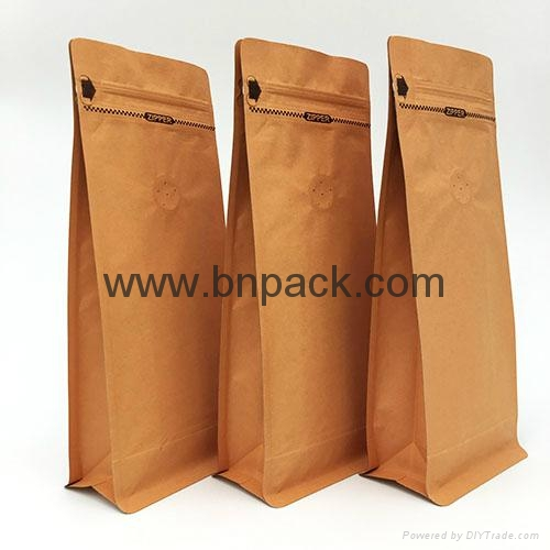 Stand up block bottom kraft paper bag lined metallized foil for coffee bean pack 5