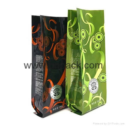 Food grade custom logo plastic aluminum foil bag for roasted coffee bean 4