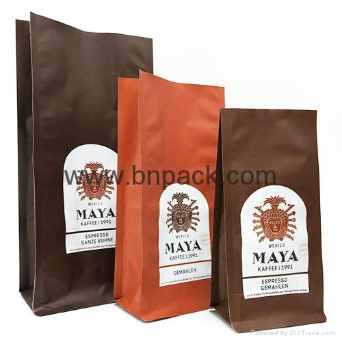 Matte and glossy finished foil laminated side gusseted coffee bean packaging  2
