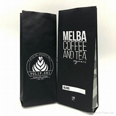 Matte and glossy finished foil laminated side gusseted coffee bean packaging