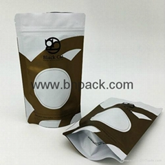 High quality resealable laminated aluminum foil stand up zipper pouch for coffee