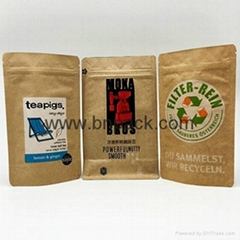 Eco friendly stand up kraft paper bag for nuts packaging