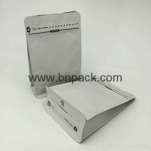 white paper rice packets bag with tear off zipper block bottom paper bag 2