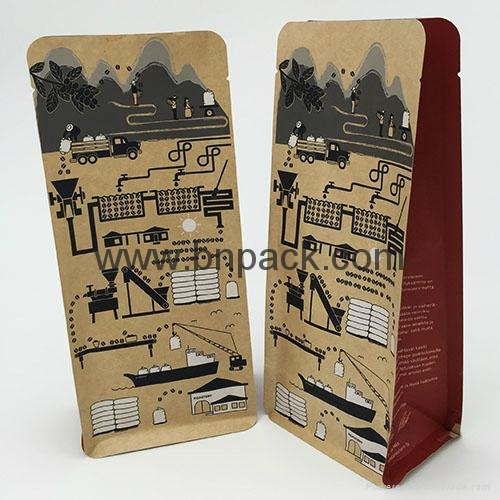 white paper rice packets bag with tear off zipper block bottom paper bag 6