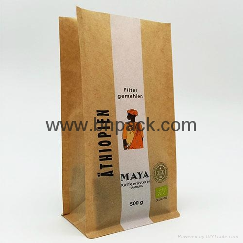 box bottom Kraft bags Kraft paper tea packaging bags coffee bean bag 4