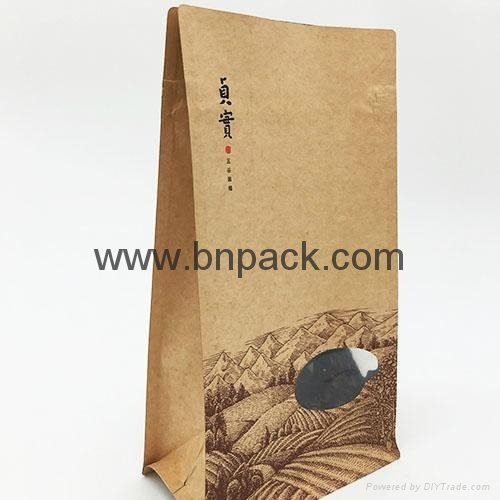 box bottom Kraft bags Kraft paper tea packaging bags coffee bean bag 5