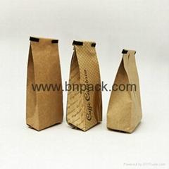 Custom prined 250g 500g coffee side gusset aluminum foil krafl paper ziplock bag