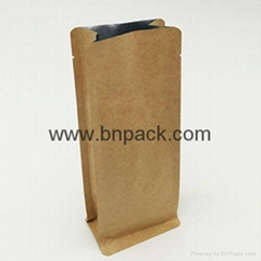 Food Grade custom printed flat bottom kraft paper bag coated poly for fruits nut