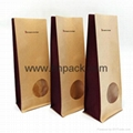 stand up flat bottom coffee packing pouches kraft paper bag 2