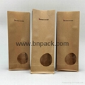 stand up flat bottom coffee packing pouches kraft paper bag 5
