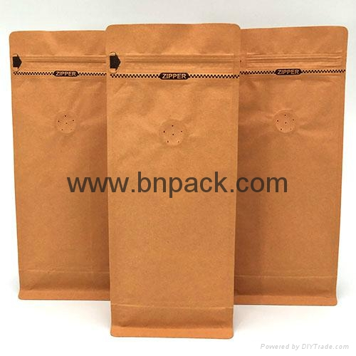 stand up flat bottom coffee packing pouches kraft paper bag 1