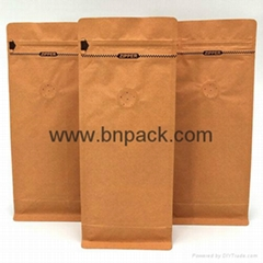 stand up flat bottom coffee packing pouches kraft paper bag