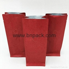 printed kraft paper flat bottom stand up pouches without zipper
