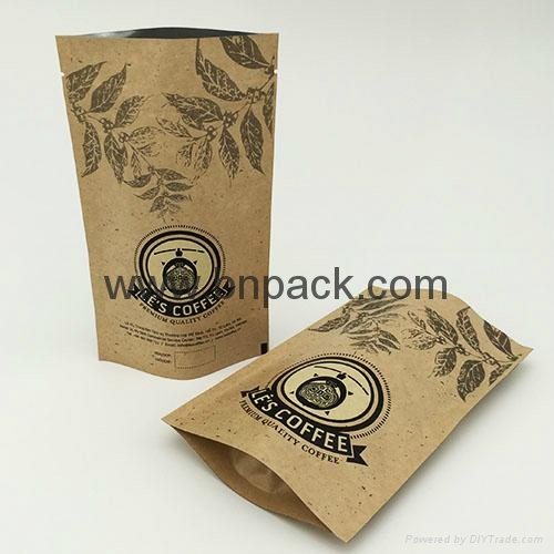 Food grade brown white kraft paper bag zipper stand up pouch for nougat 4