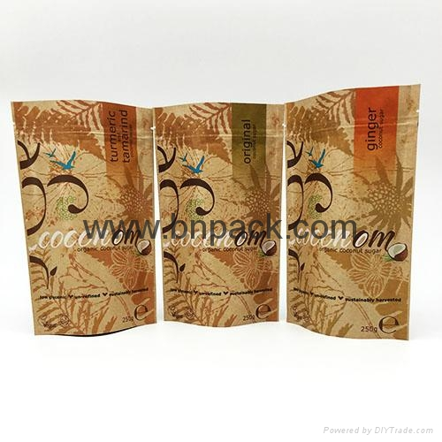 Food grade brown white kraft paper bag zipper stand up pouch for nougat 5