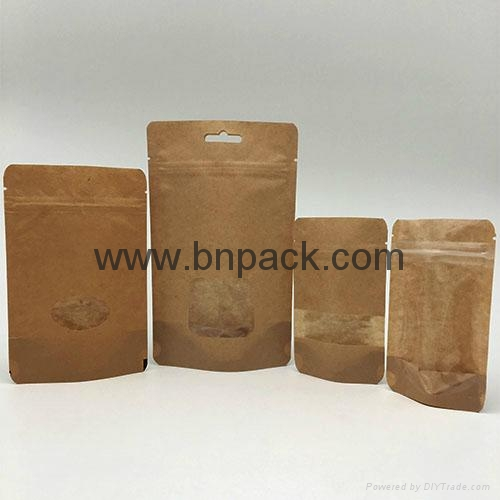 Food grade brown white kraft paper bag zipper stand up pouch for nougat 6