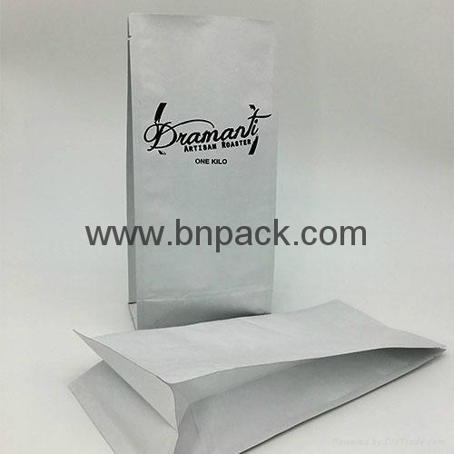 flat base pouch white paper bag for roasted coffee bean packaging 250g 500g1000g 4