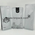 flat base pouch white paper bag for roasted coffee bean packaging 250g 500g1000g 2