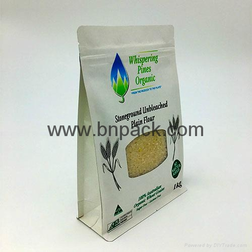 flat base pouch white paper bag for roasted coffee bean packaging 250g 500g1000g 6
