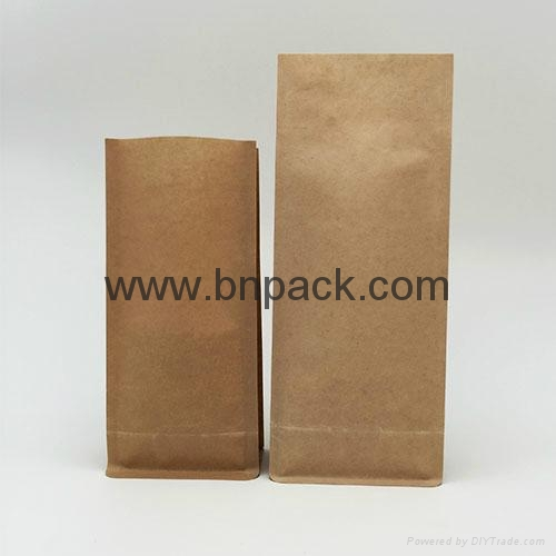 white kraft paper bag four side sealed coffee pouch with air vent 2