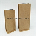 white kraft paper bag four side sealed coffee pouch with air vent 3