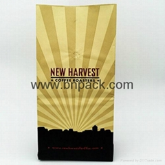 white kraft paper bag four side sealed coffee pouch with air vent