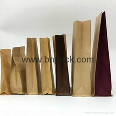 brown kraft paper gusseted bag for coffee bean packaging