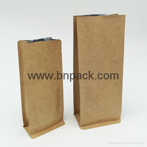 brown kraft paper gusseted bag for coffee bean packaging 2