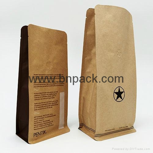 brown kraft paper gusseted bag for coffee bean packaging 4