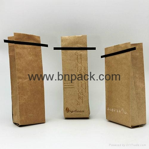 customize printed kraft paper coated aluminum foil with tin tie coffee packaging 1