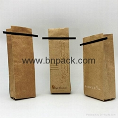 customize printed kraft paper coated aluminum foil with tin tie coffee packaging