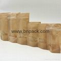 factory supply stand up kraft paper bag with customized window 3
