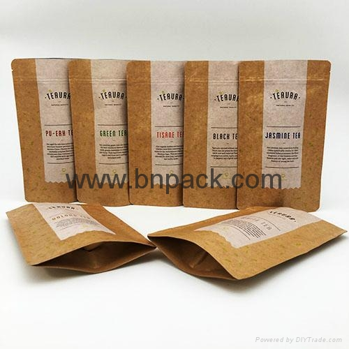 factory supply stand up kraft paper bag with customized window 4