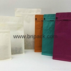 Top Zipper Kraft Paper box bottom pouch with Valve for coffee packaging