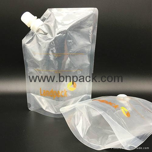 Custom laminated stand up pouch reusable liquid packing spout pouch 4
