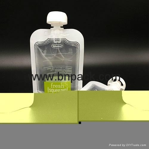 custom printed liquid fruit juice reusable pouch with anti-swallow straw 1